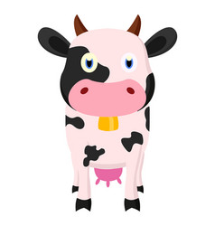 cute cow cartoon standing vector image vector image