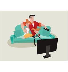 Family relaxing on the sofa watching tv vector