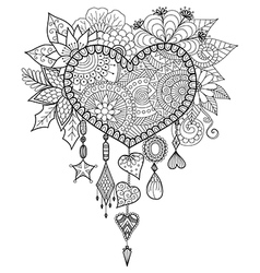 heart shape dream catcher vector image vector image