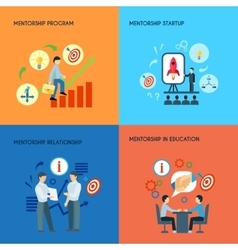 Mentorship 4 flat icons square composition vector image vector image