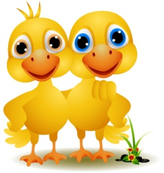a pair of ducks in a friendly vector image