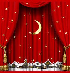 christmas and new year curtain vector image vector image