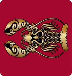 Golden lobster ornament vector image vector image