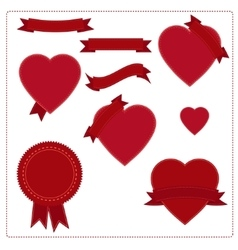 Set of red ribbons hearts and logos in vintage vector image