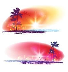 Sunset and palm tree vector image