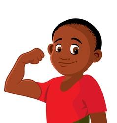 boy strong flexing vector image