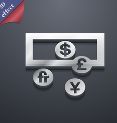 currencies of the world icon symbol 3D style vector image