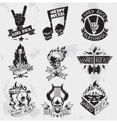 Heavy metal rock badges set vector