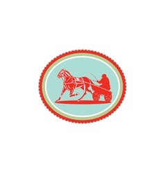 Horse and Jockey Harness Racing Rosette Retro vector image vector image