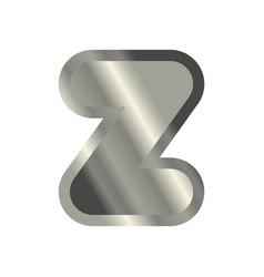 Letter z steel font metal alphabet sign iron abc vector