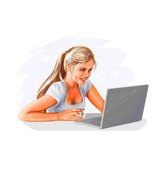 woman at laptop vector image