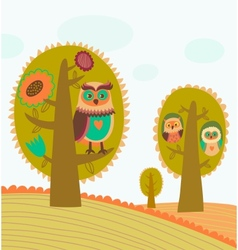 Cute colorful trees with owls vector image vector image