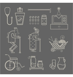 Granny icons vector image