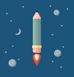pencil rocket flies into space vector image