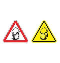 Warning sign attention beer mug Hazard yellow sign vector image vector image