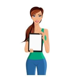 Woman showing tablet computer portrait vector image vector image