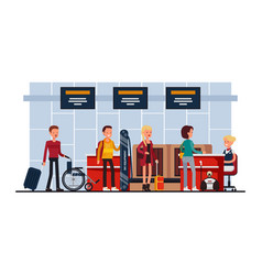 Airport terminal security check-in desk vector