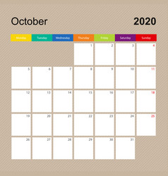 Alendar page for october 2020 wall planner vector