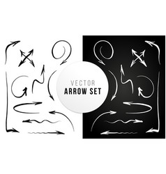 arrow set hand brushed ink alligraphy vector image
