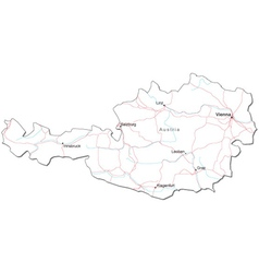Austria Black White Map vector image