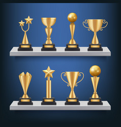awards shelves trophies medals and cups on vector image