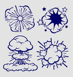 Ballpoint sketch explosion clouds isolated vector