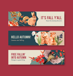 Banner template with autumn forest and animals vector
