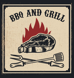 Barbecue and grill grilled meat with fork and vector