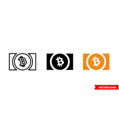 bitcoin cash icon 3 types color black and vector image