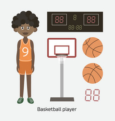 Black boy holding basketball vector