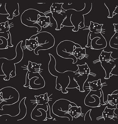 Black cats seamless pattern vector