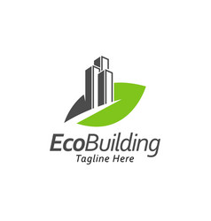 Building with leaf logo design templategreen city vector