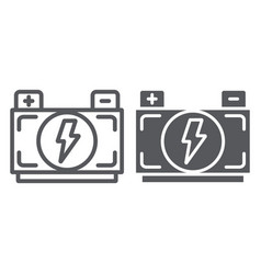 car battery line and glyph icon auto and power vector image