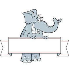 Cartoon elephant holding a banner sign vector