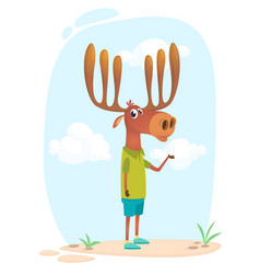 cartoon funny cool elk moose vector image