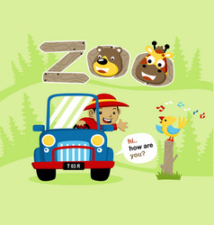 cartoon of vacation to the zoo vector image