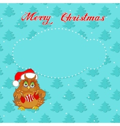 Christmas card with owl vector image