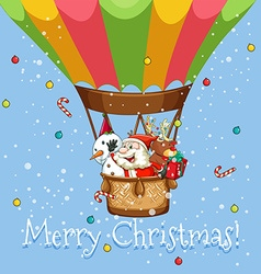 Christmas poster with Santa on balloon vector image