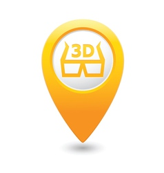 Cinema glasses 3d icon yellow map pointer vector