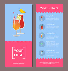 Cocktail menu whats there advertisement poster vector