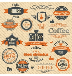 Coffee Stamps and Label Design Backgrounds vector image