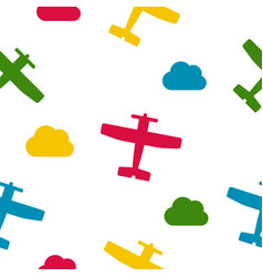 colorful airplanes and clouds seamless vector image