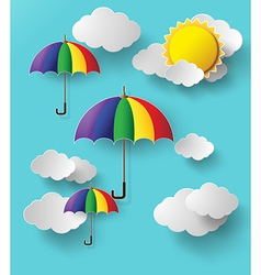 Colorful umbrella on sky vector