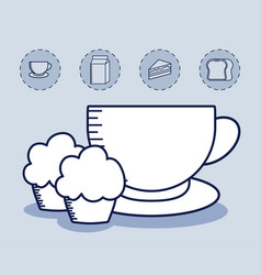 cup coffee with cupcake and set icons vector image