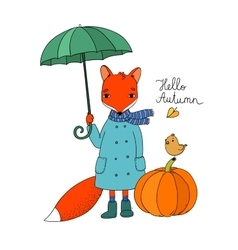 Cute cartoon fox under an umbrella and a small vector