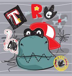 Cute cartoon t-rex dinosaur wearing a red hat vector