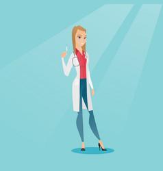 doctor holding syringe vector image