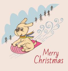 doodle dog sled christmas postcard vector image