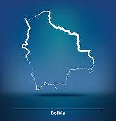 Doodle Map of Bolivia vector