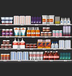 Drugstore showcase or pharmacy shelf with drugs vector